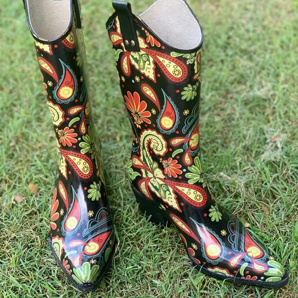 e6c635d21f6 Nomad Footwear Shoes | Nomad Black Paisley Cowboy Rain Boot Size 6 ...